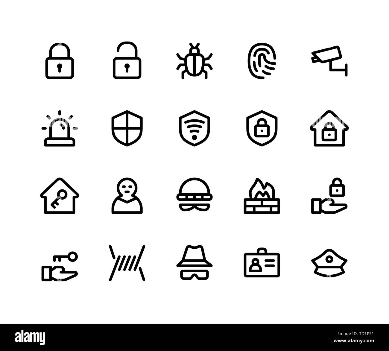 Simple Set of Security Related Vector Line Icons. Contains such Icons as lock, unlock, bug, finger print and More. pixel perfect vector icons based on - Stock Image