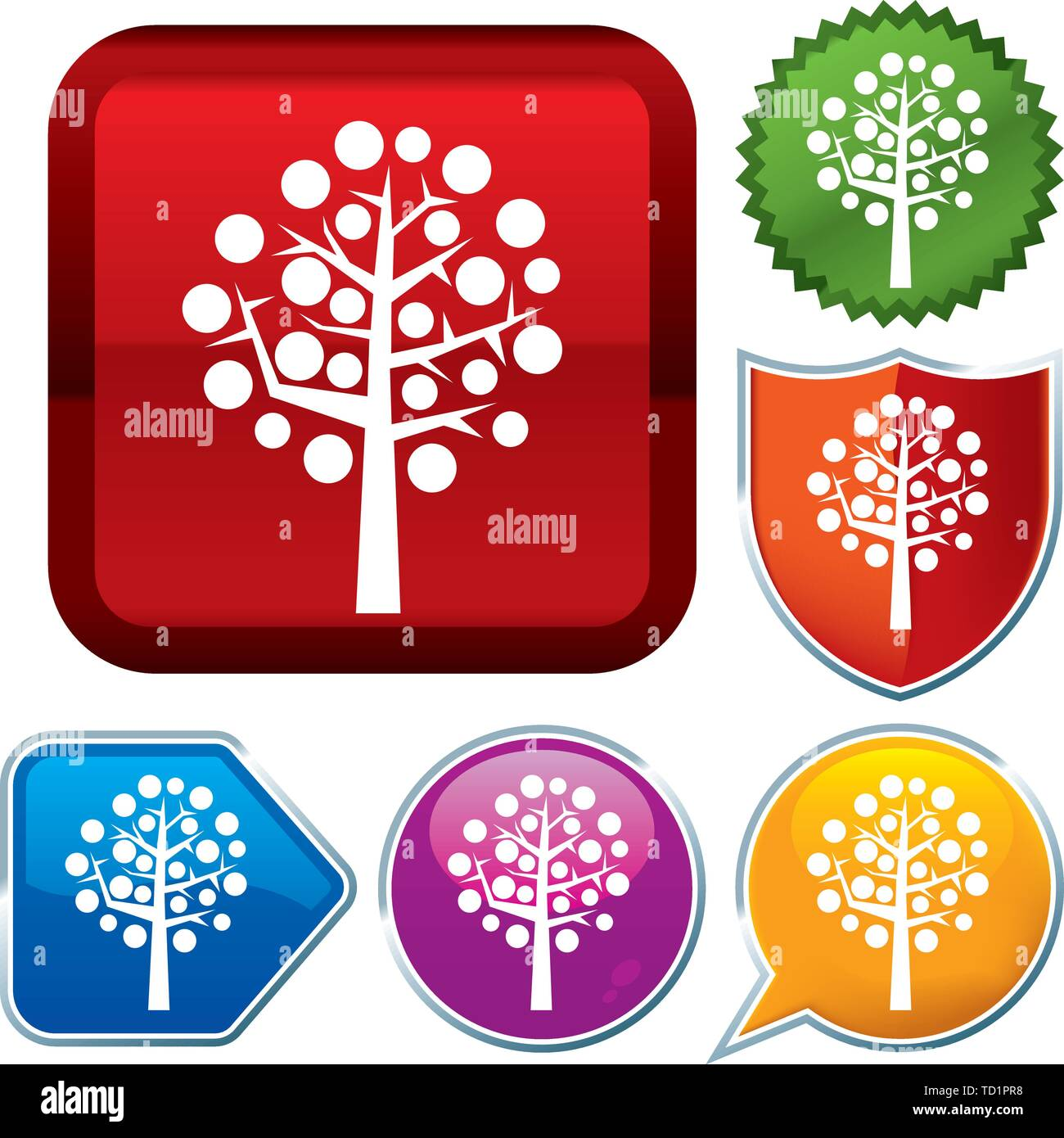 Vector illustration. Set shiny icon series on buttons. Fruit tree. - Stock Vector