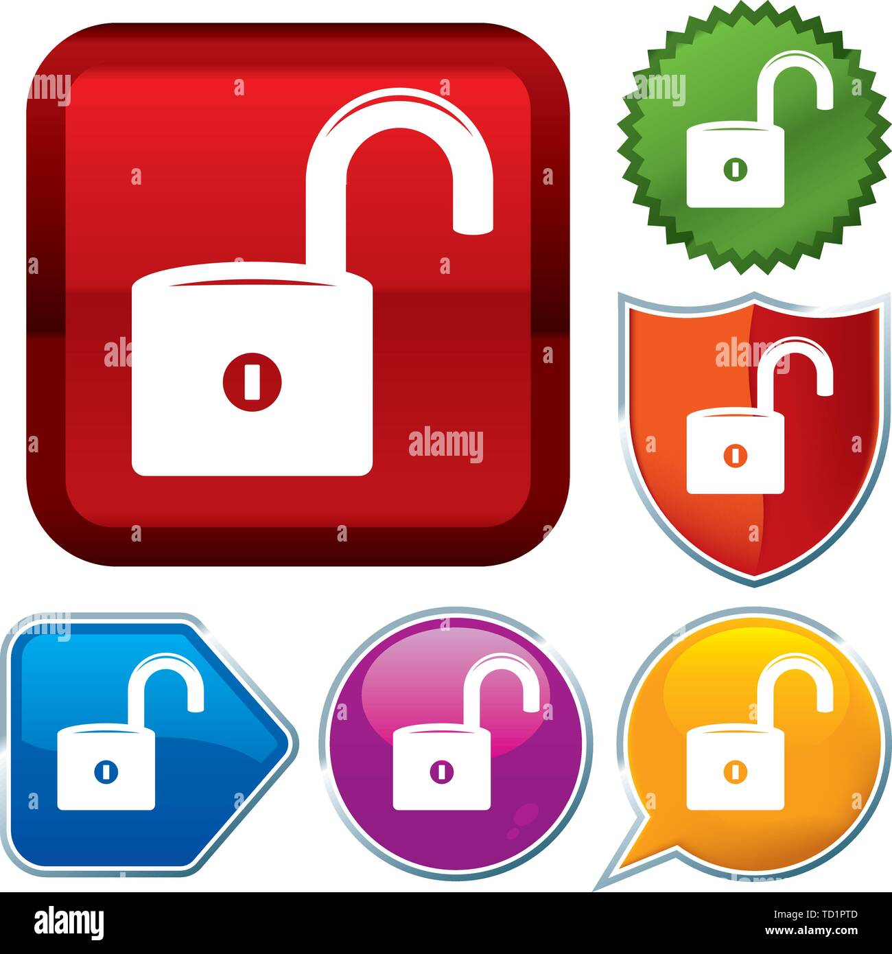Vector illustration. Set shiny icon series on buttons. Unprotected. - Stock Image