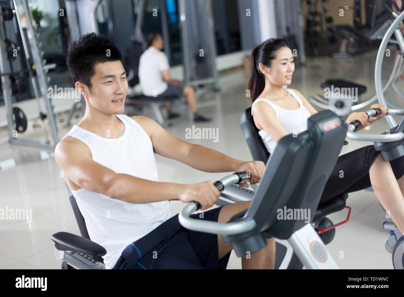 people work out in modern gym - Stock Image