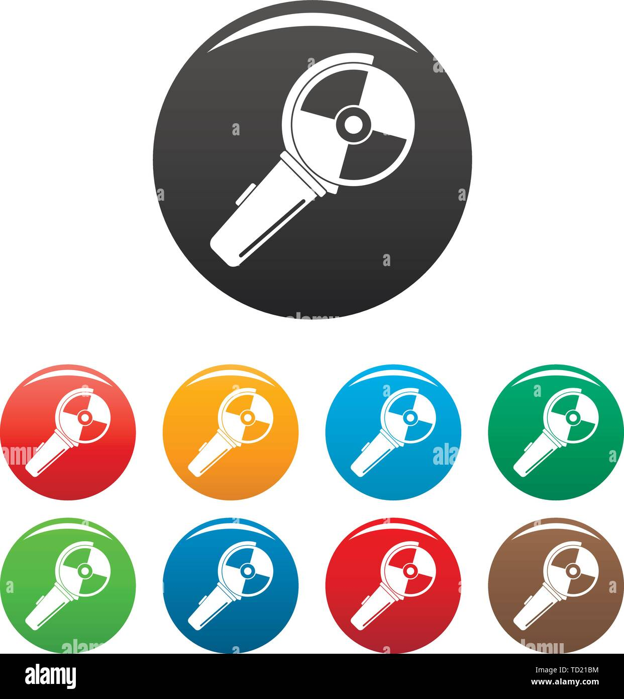 Angle grinder icons set 9 color vector isolated on white for any design - Stock Image