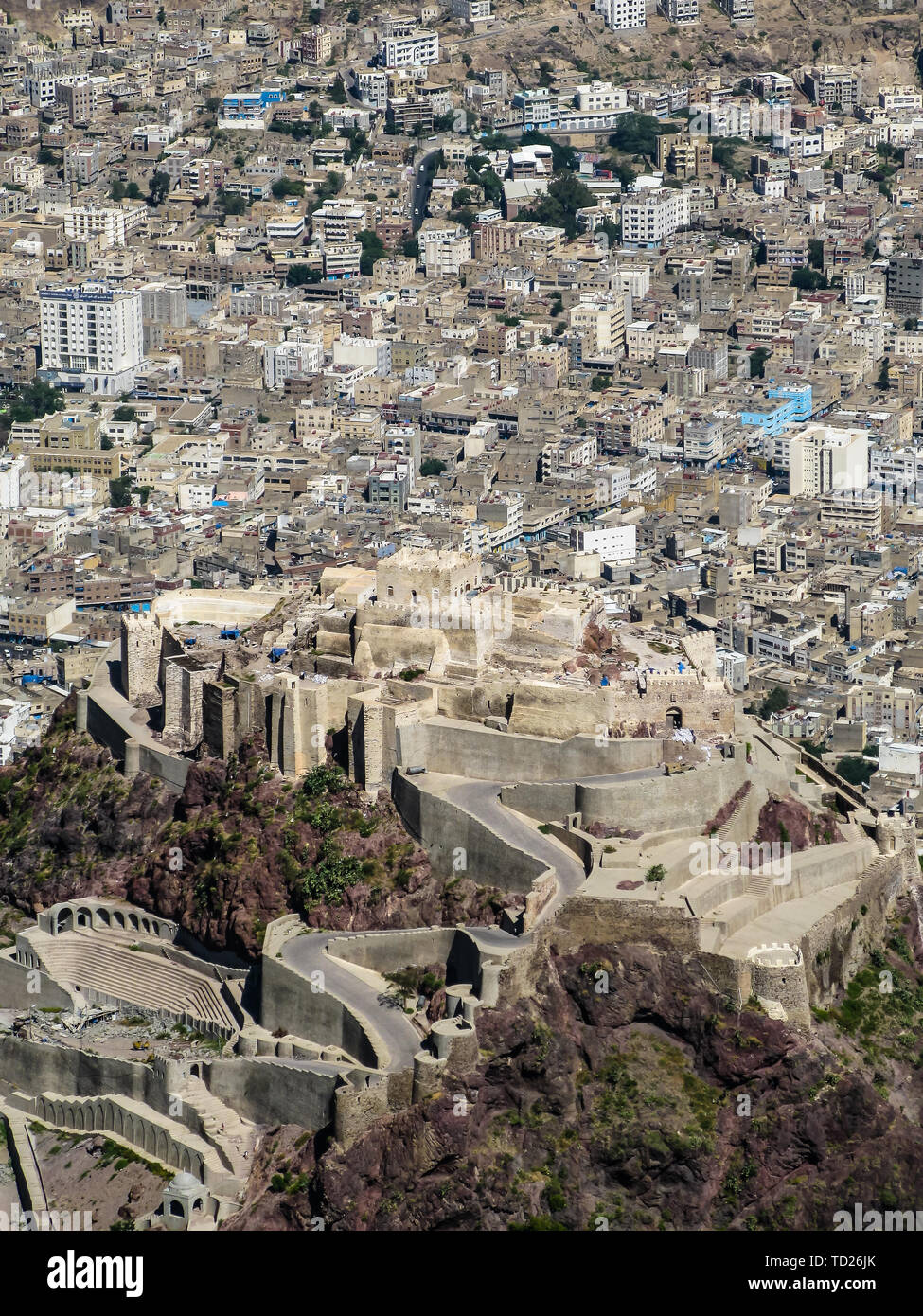 Exterior view from Al-Cahira fortress aka Cairo Castle - 07 november 2009 Taiz, Yemen - Stock Image
