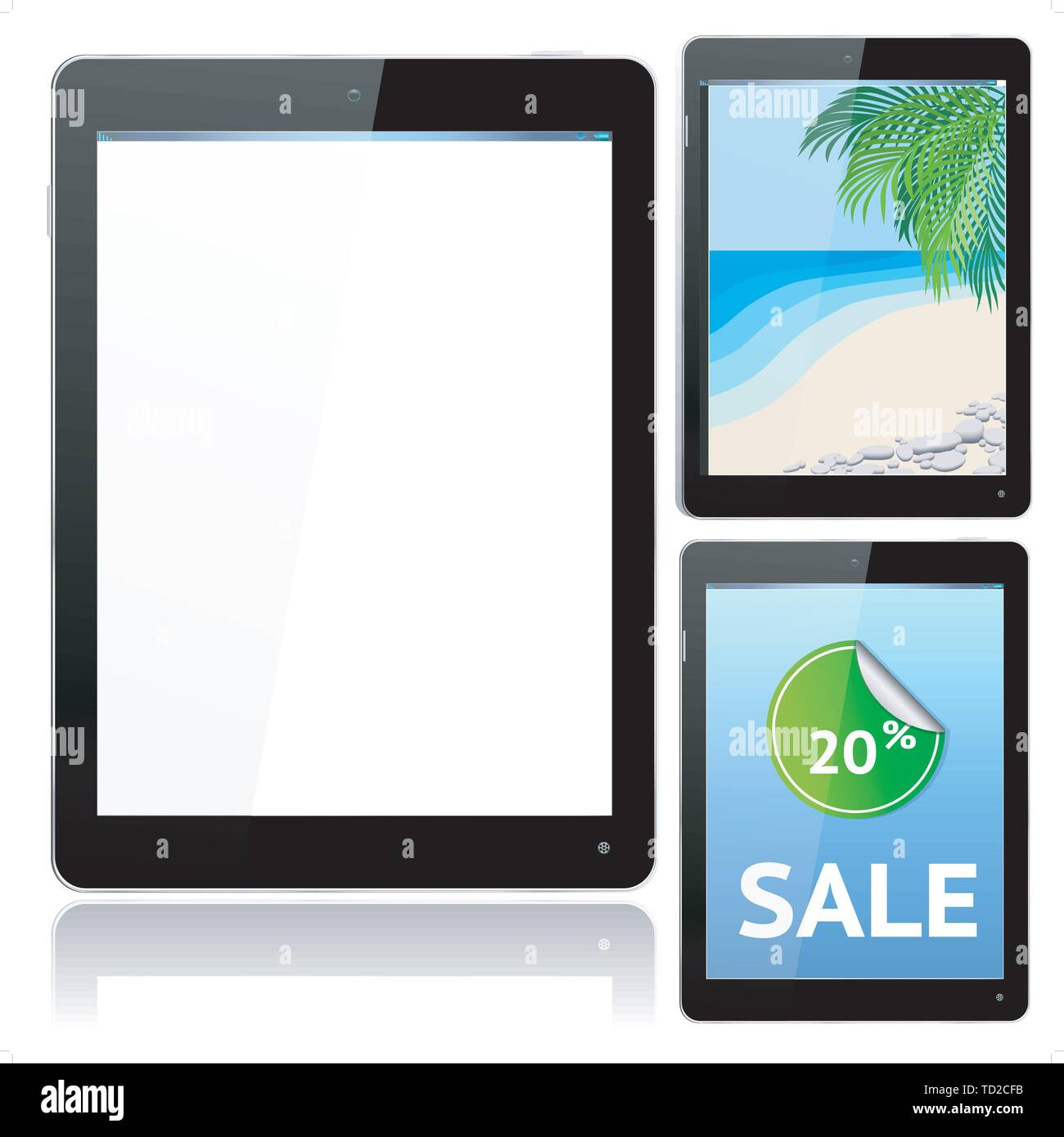 Realistic Black Tablet Computer with Beach and Infographic Samples - vector layered grouped and with a separate layer to easily add your own screen im - Stock Image