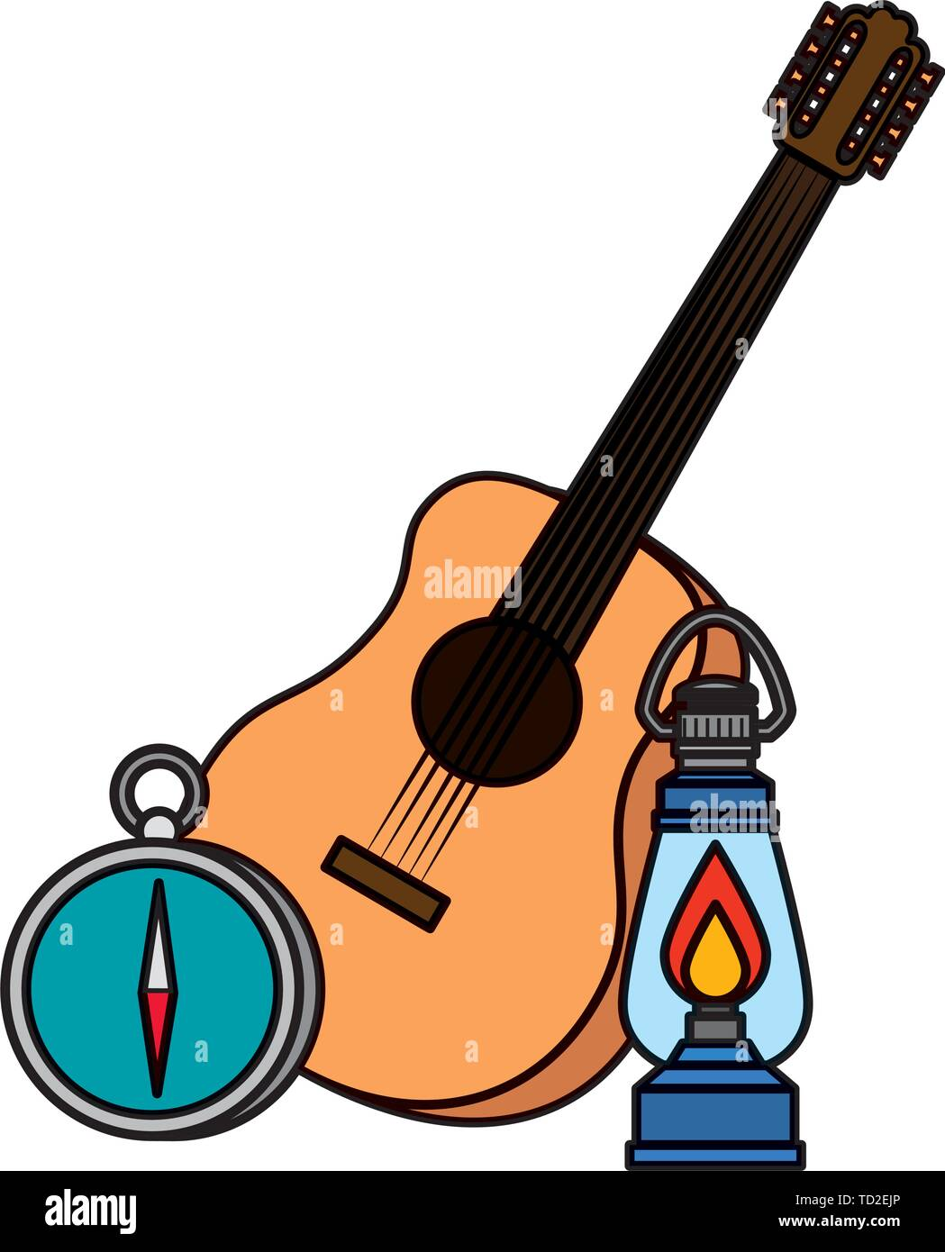 guitar with kerosene lantern and compass guide - Stock Image