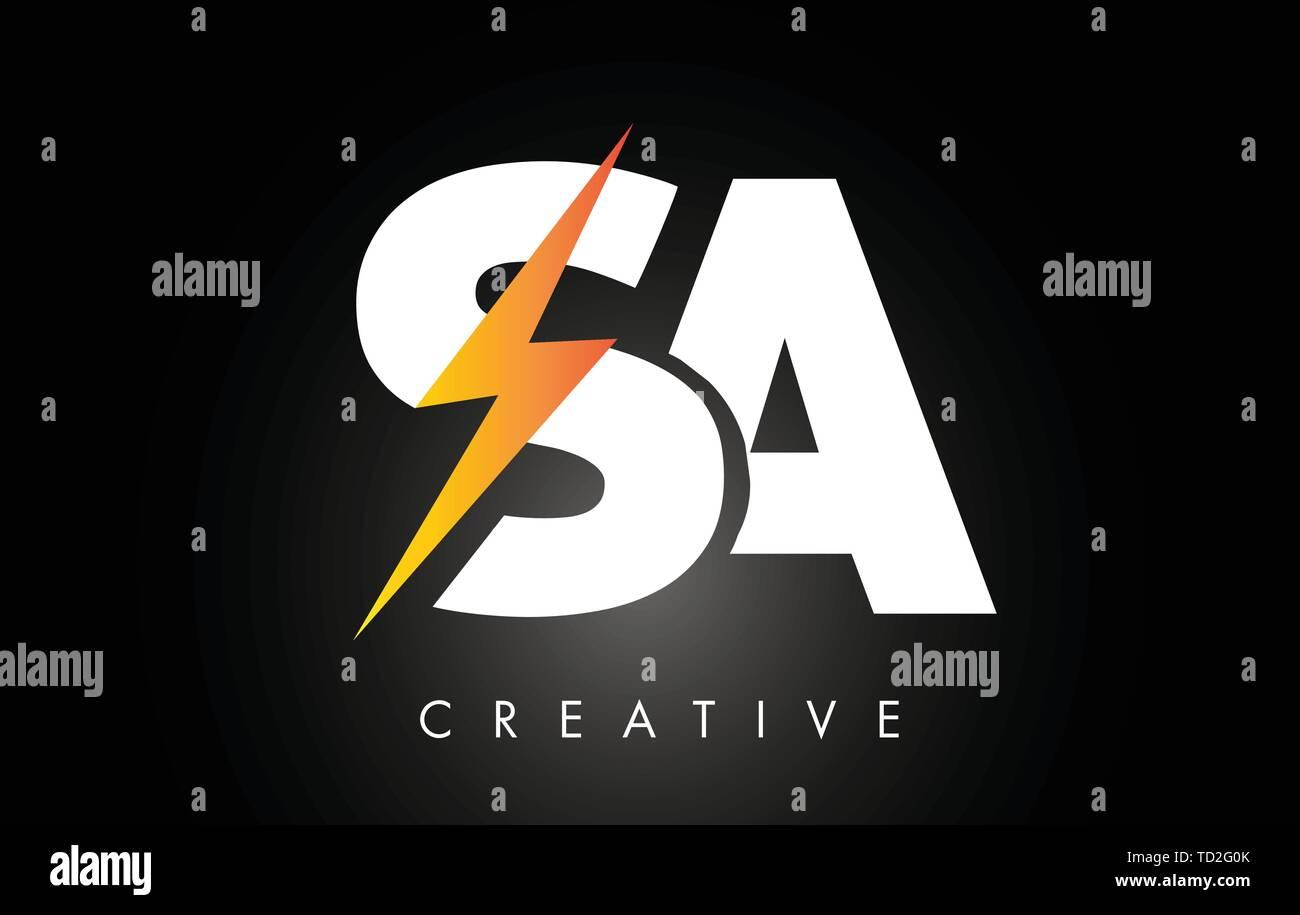 SA Letter Logo Design With Lighting Thunder Bolt. Electric Bolt Letter Logo Vector Illustration. - Stock Vector