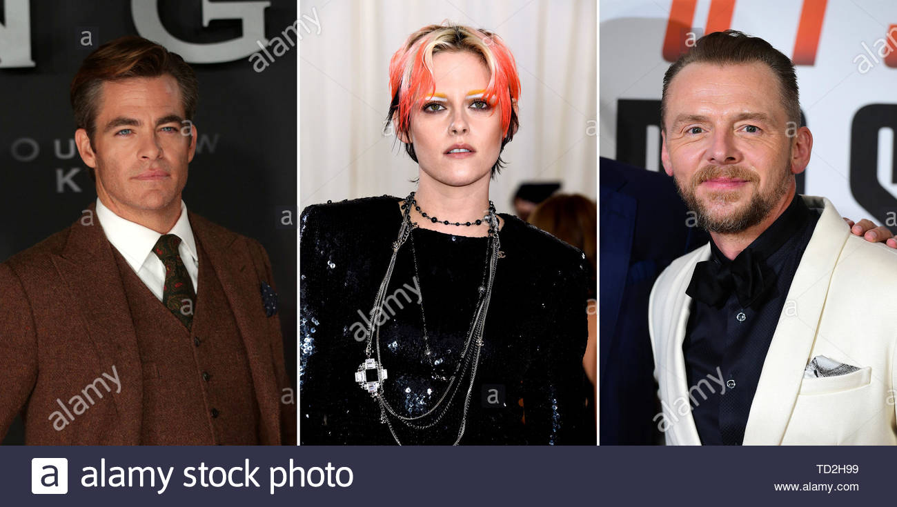 File photos of (from the left) Chris Pine, Kristen Stewart and Simon Pegg, who are among hte stars paying tribute to Anton Ylechin in a trailer for a documentary about the Star Trek actor, who was killed at the age of 27. - Stock Image