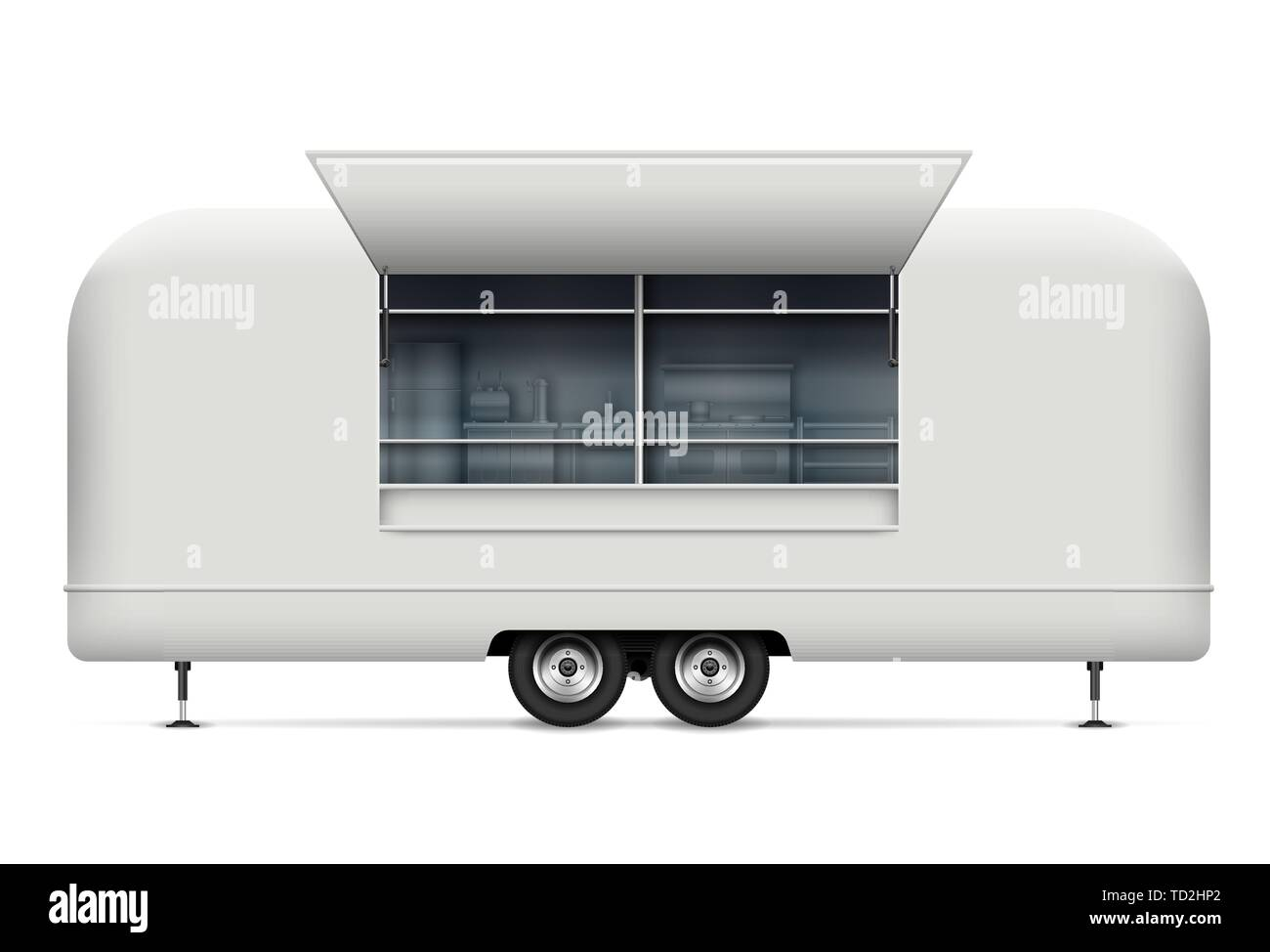 Food truck vector mockup for vehicle branding, advertising, corporate identity. Isolated template of realistic mobile kitchen on white background Stock Vector