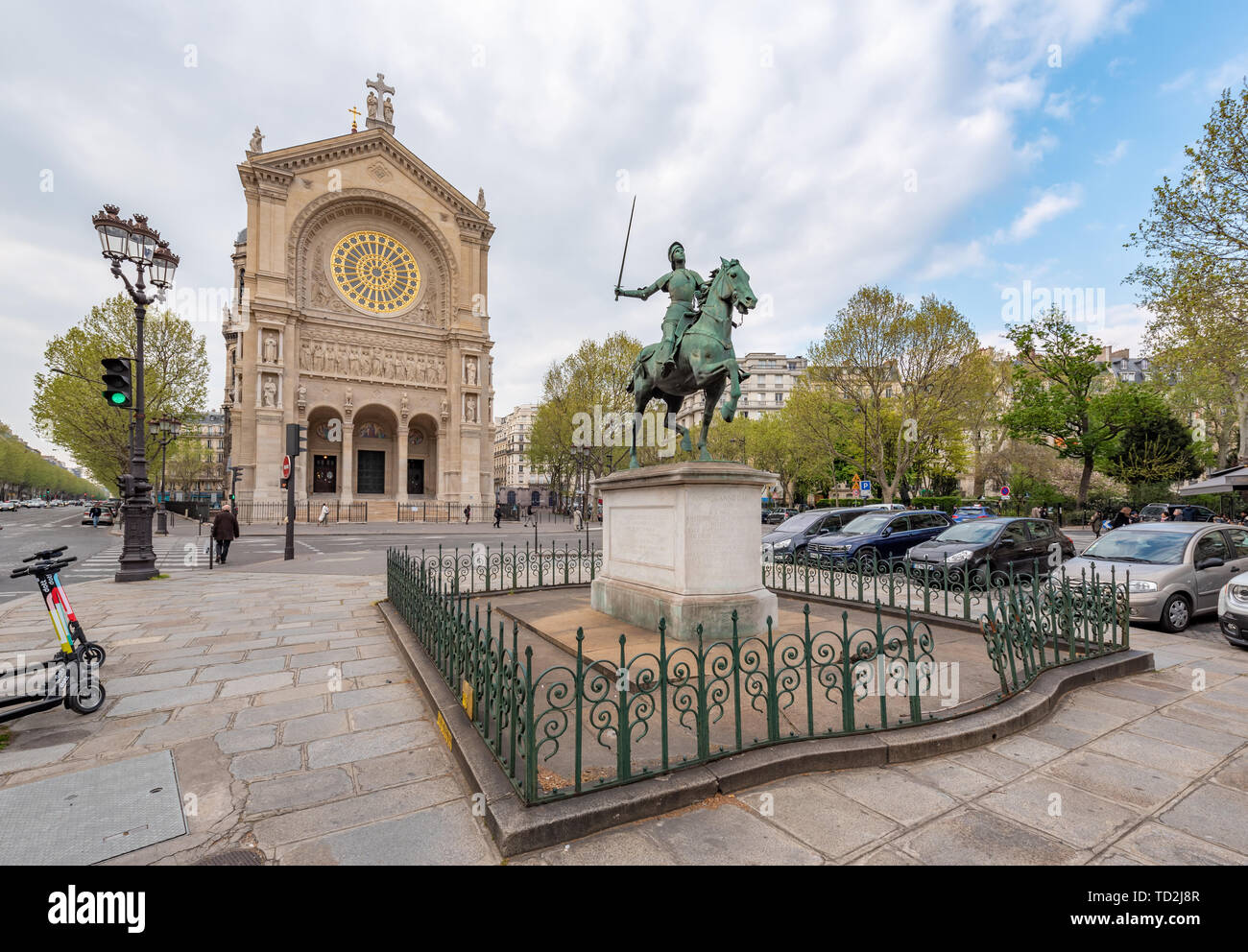 Paris, France - April 12, 2019: The Eglise Saint-Augustin de Paris - Church of St. Augustine - Catholic church with the statue of Jeanne d'arc in the  - Stock Image