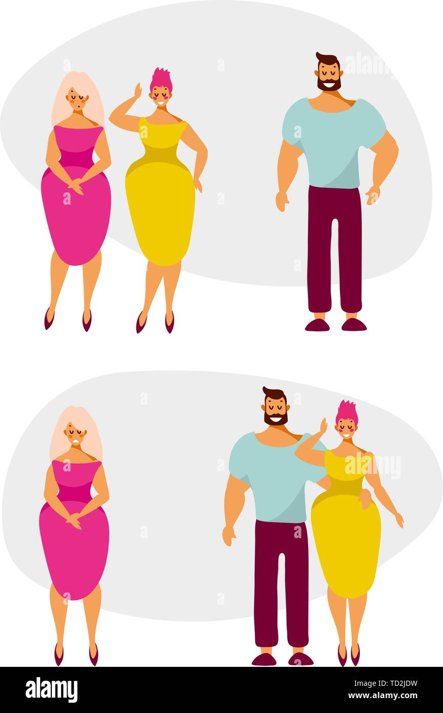 Love, date and relationship of a man and two women. Cartoon characters on a date. Vector illustration in flat style. Stock Vector