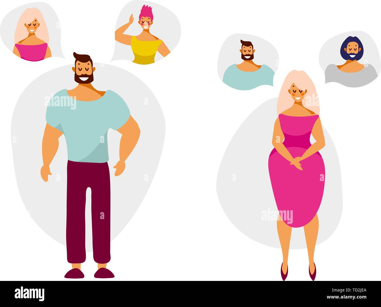 Cartoon characters man and woman think and dream of a partner. Vector illustration in flat style isolated on white background. Stock Vector
