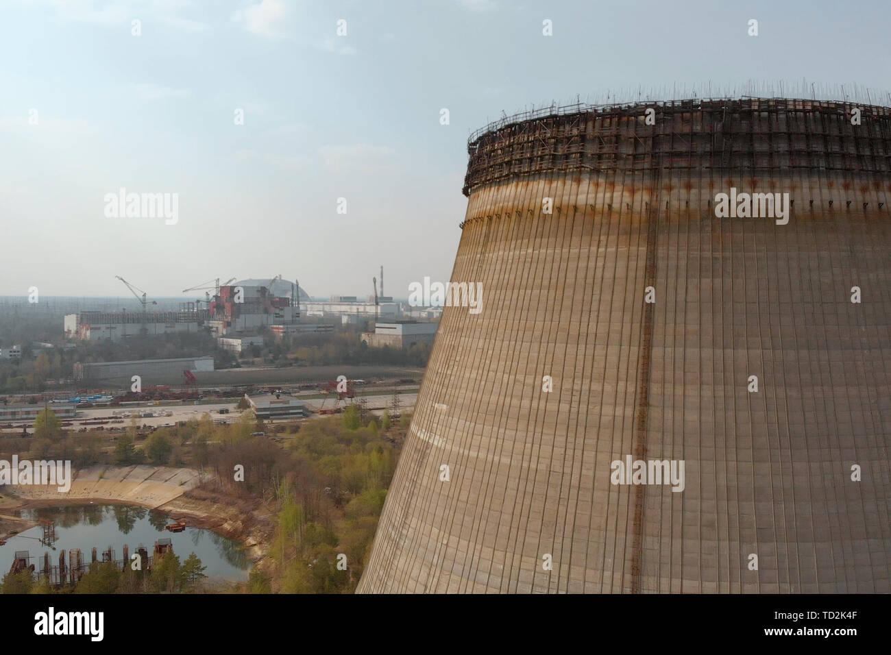 Territory near Chernobyl NPP, Ukraine. Aerial view - Stock Image