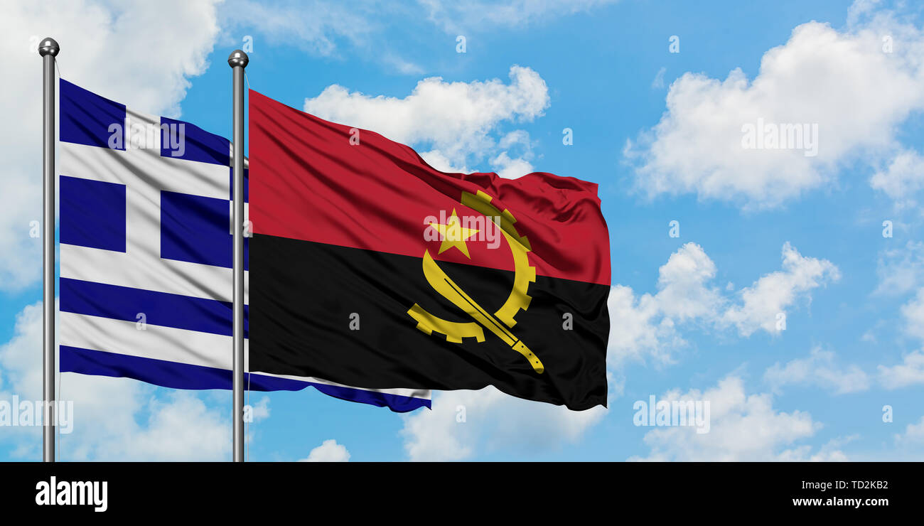Greece and Angola flag waving in the wind against white cloudy blue sky together. Diplomacy concept, international relations. Stock Photo