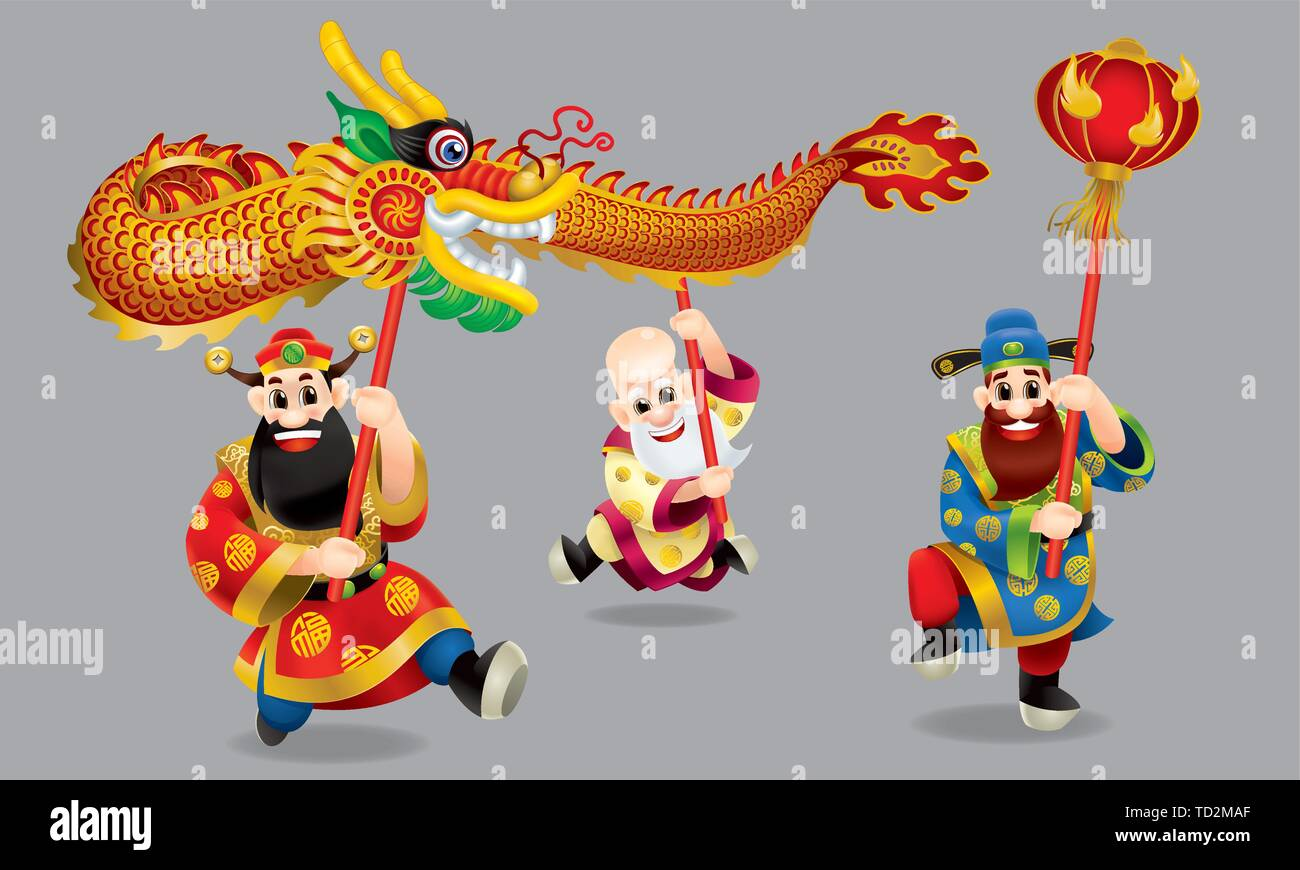 Three cute Chinese gods (represent long life, wealthy and career) are performing dragon dance. With different posts. Isolated. - Stock Image