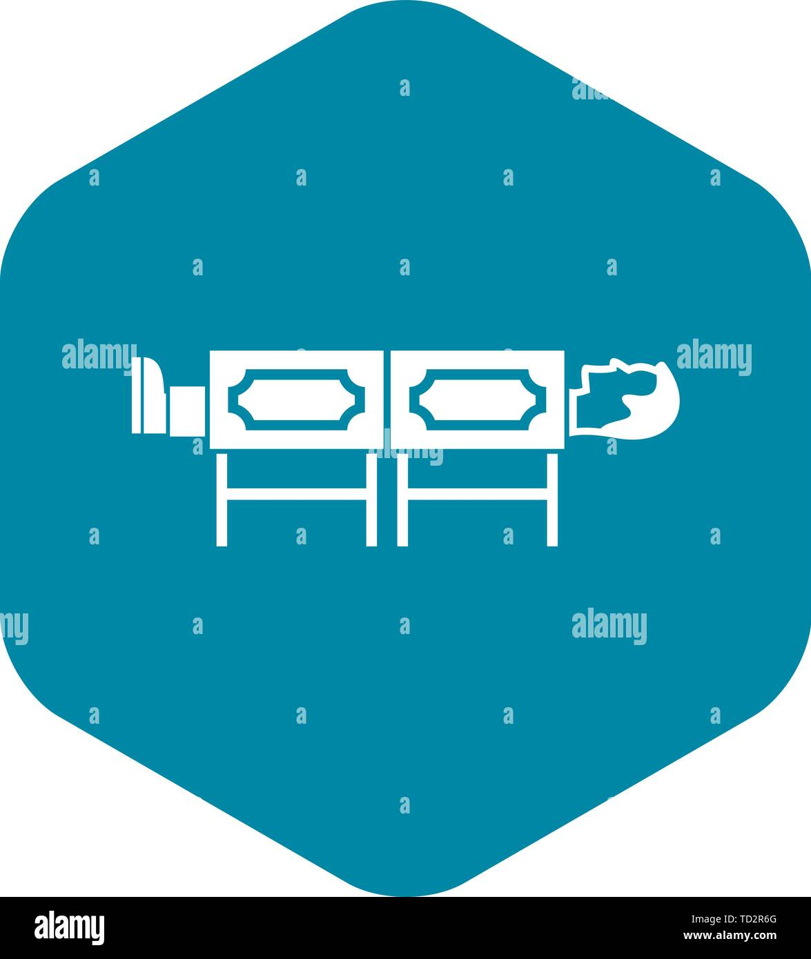 Magician sawing box icon, simple style - Stock Image