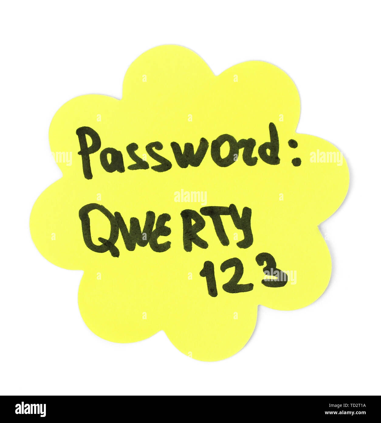 Sticker-reminder with most popular password, isolated on white - Stock Image