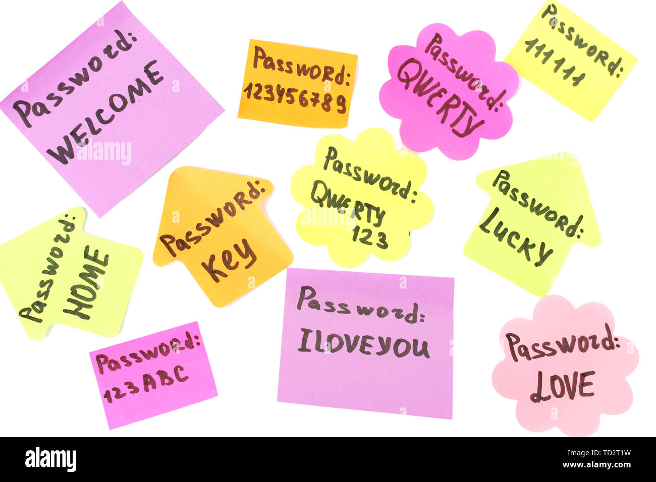 Password's reminders isolated on white - Stock Image