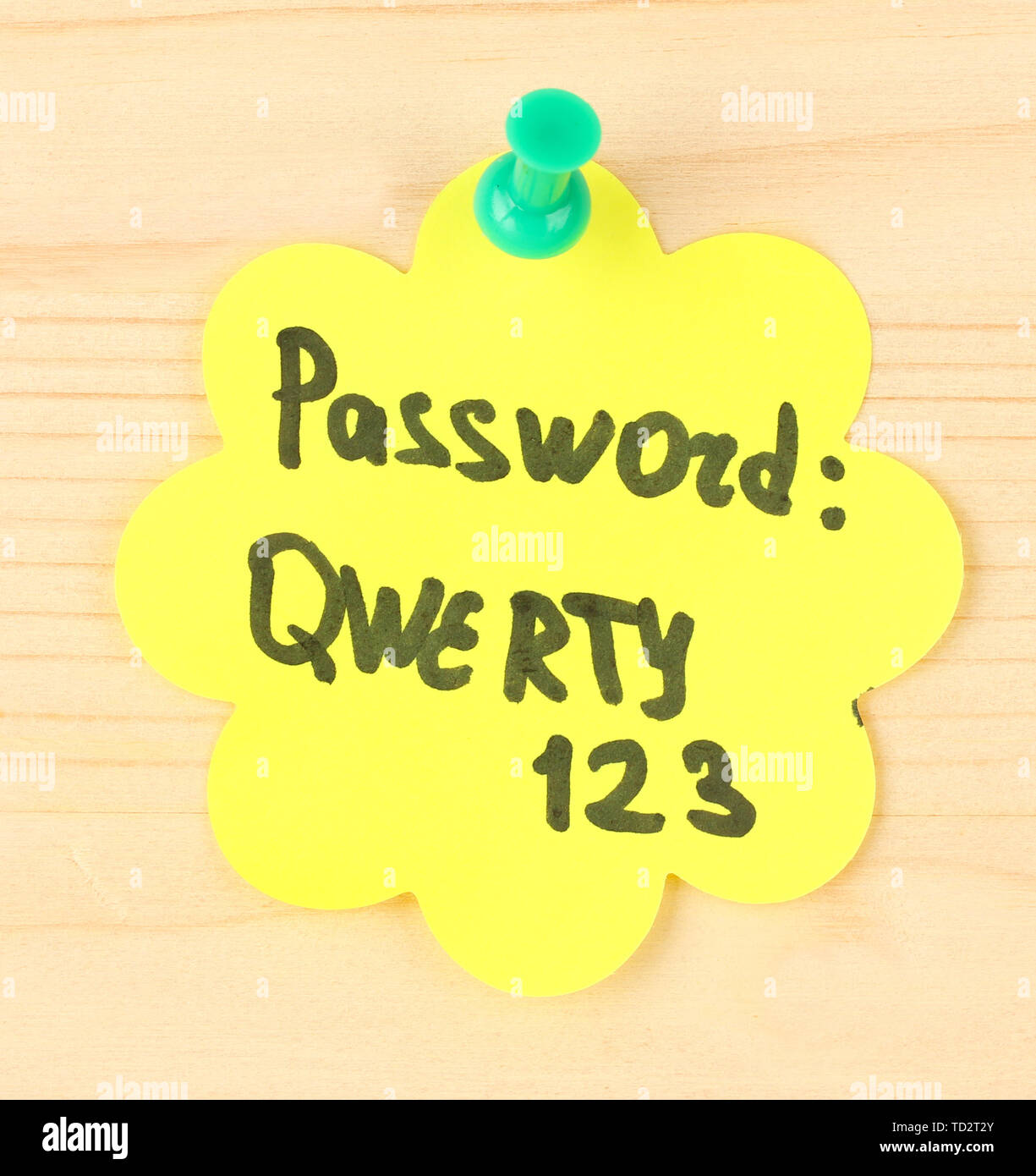 Sticker-reminder with most popular password, on wooden background - Stock Image