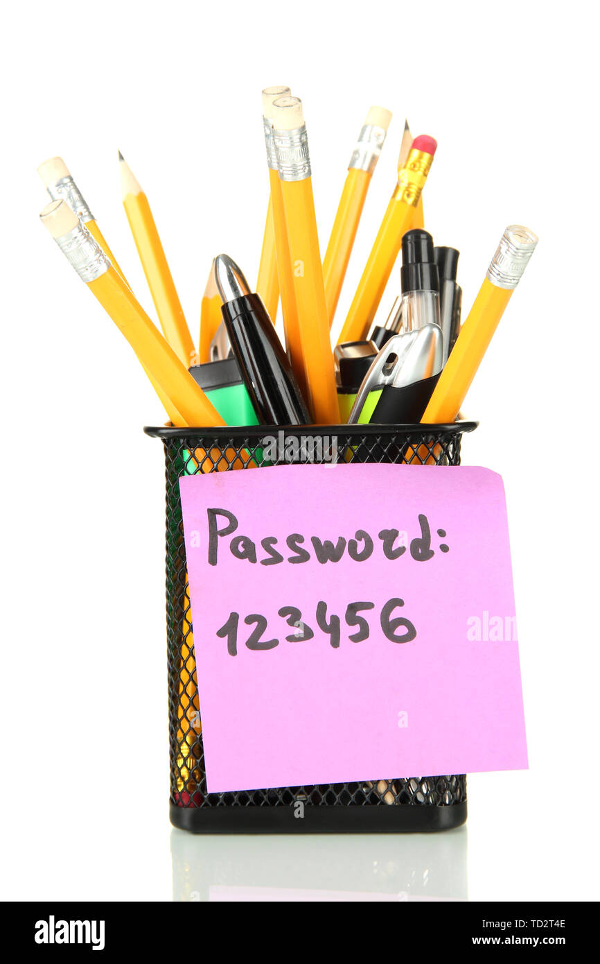 Password's reminder and office supplies, isolated on white - Stock Image
