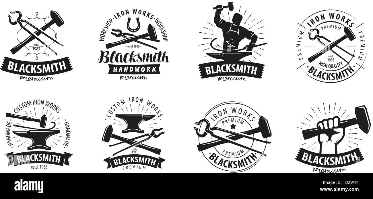Forge, blacksmith logo or label. Blacksmithing set of icons - Stock Image