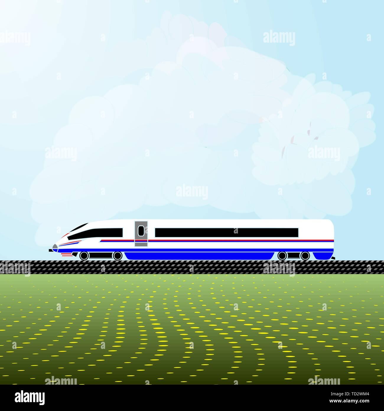 Realistic vector illustration of the locomotive of a modern high-speed train. Background - a light blue sky with white clouds and abstract flowering m - Stock Vector