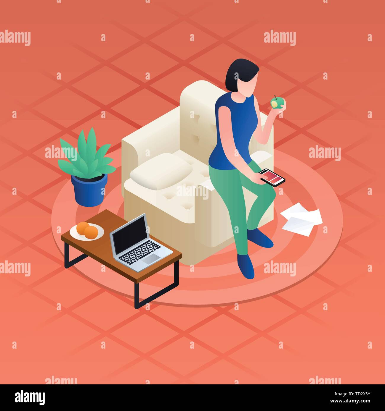 Woman home distant work concept background. Isometric illustration of woman home distant work vector concept background for web design - Stock Image
