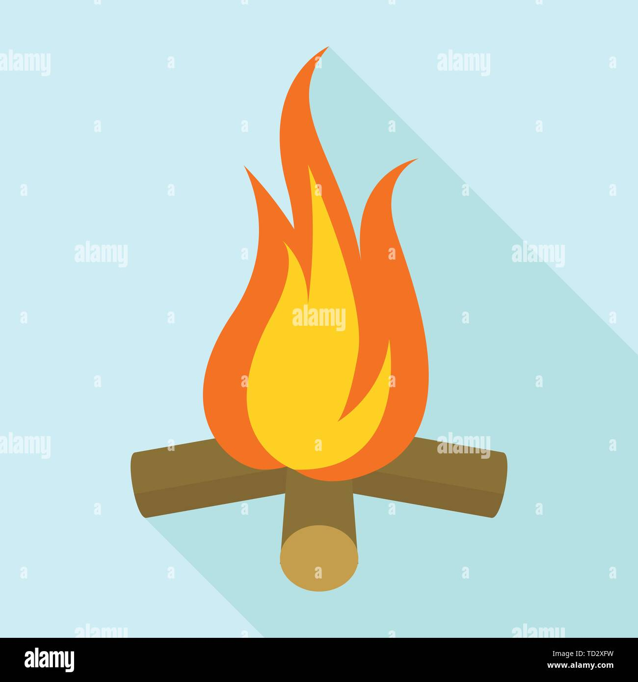 Campfire icon, flat style - Stock Image