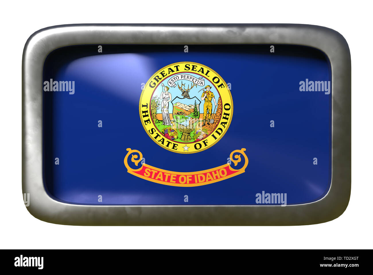 3d rendering of an Idaho State flag plate isolated on white background - Stock Image