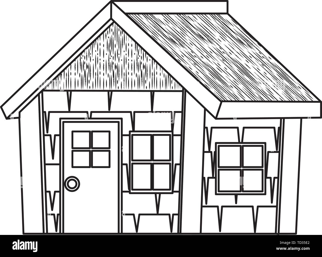 log cabin house isolated icon - Stock Vector