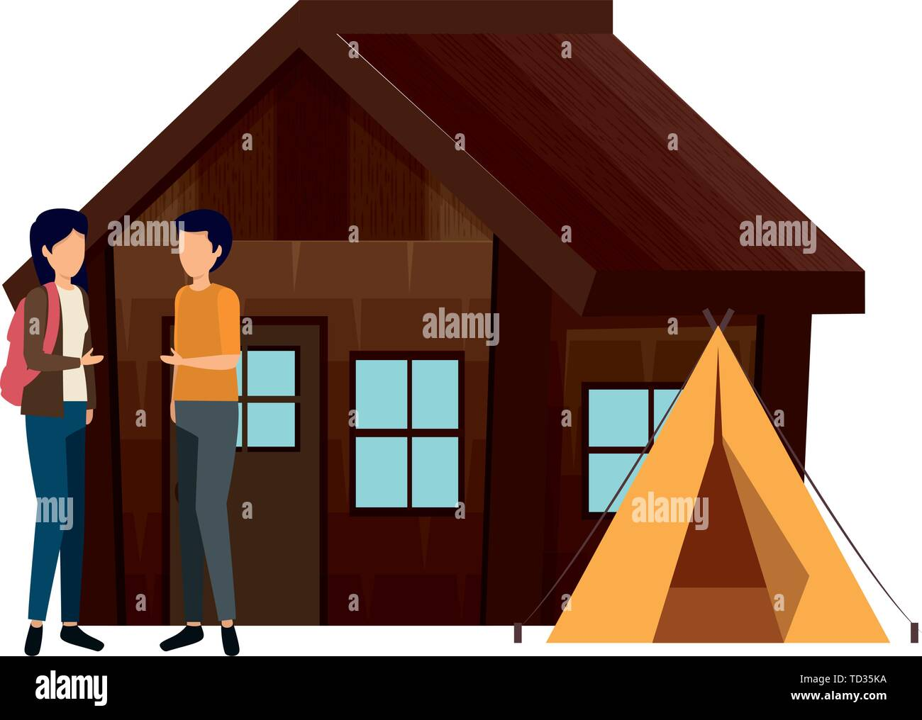 couple with log cabin with tent - Stock Vector