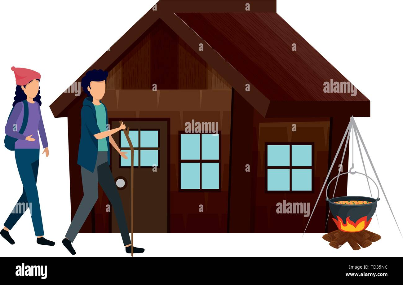 couple with log cabin with wood fire - Stock Vector