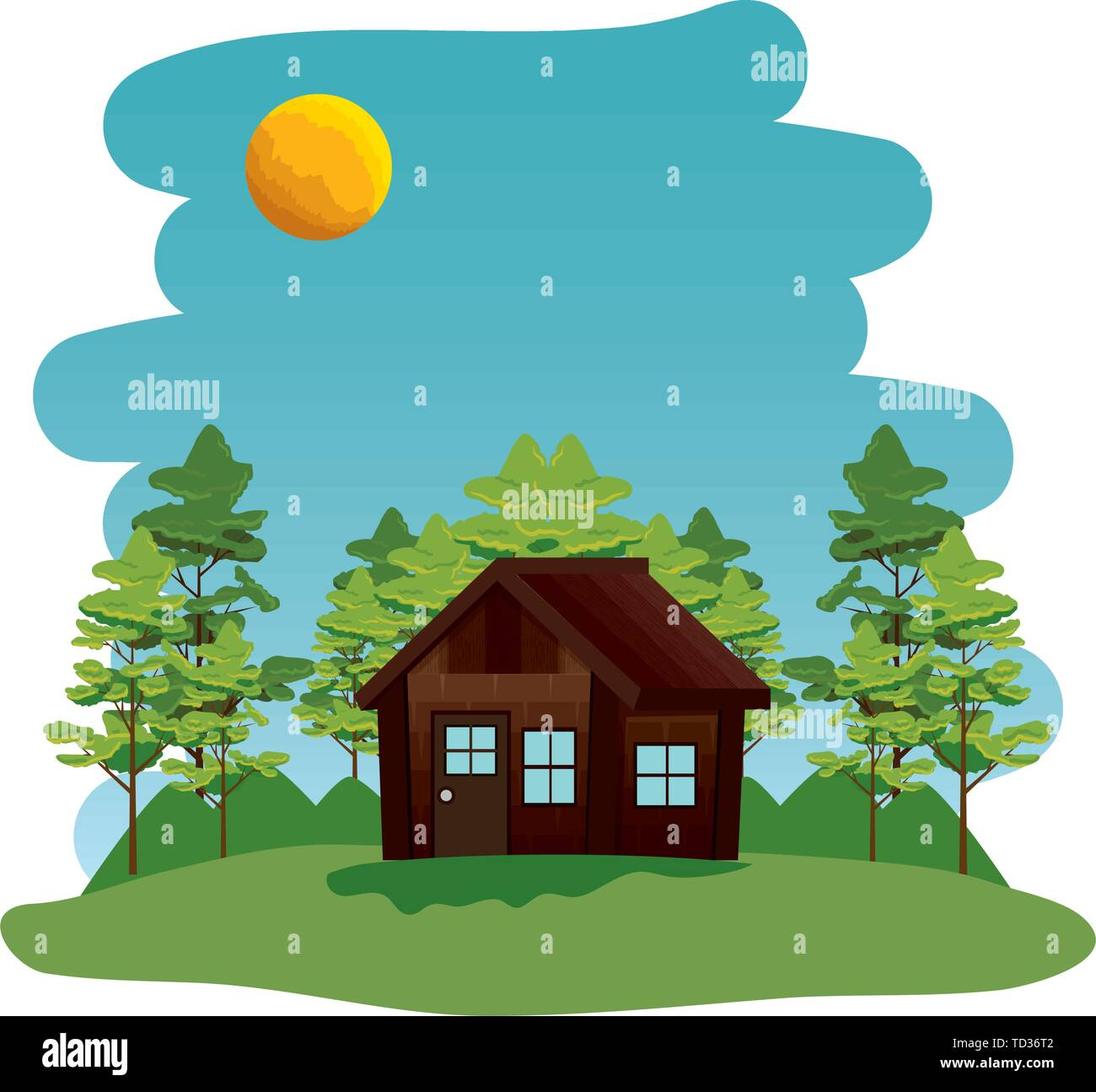 camping zone with log cabing scene - Stock Vector