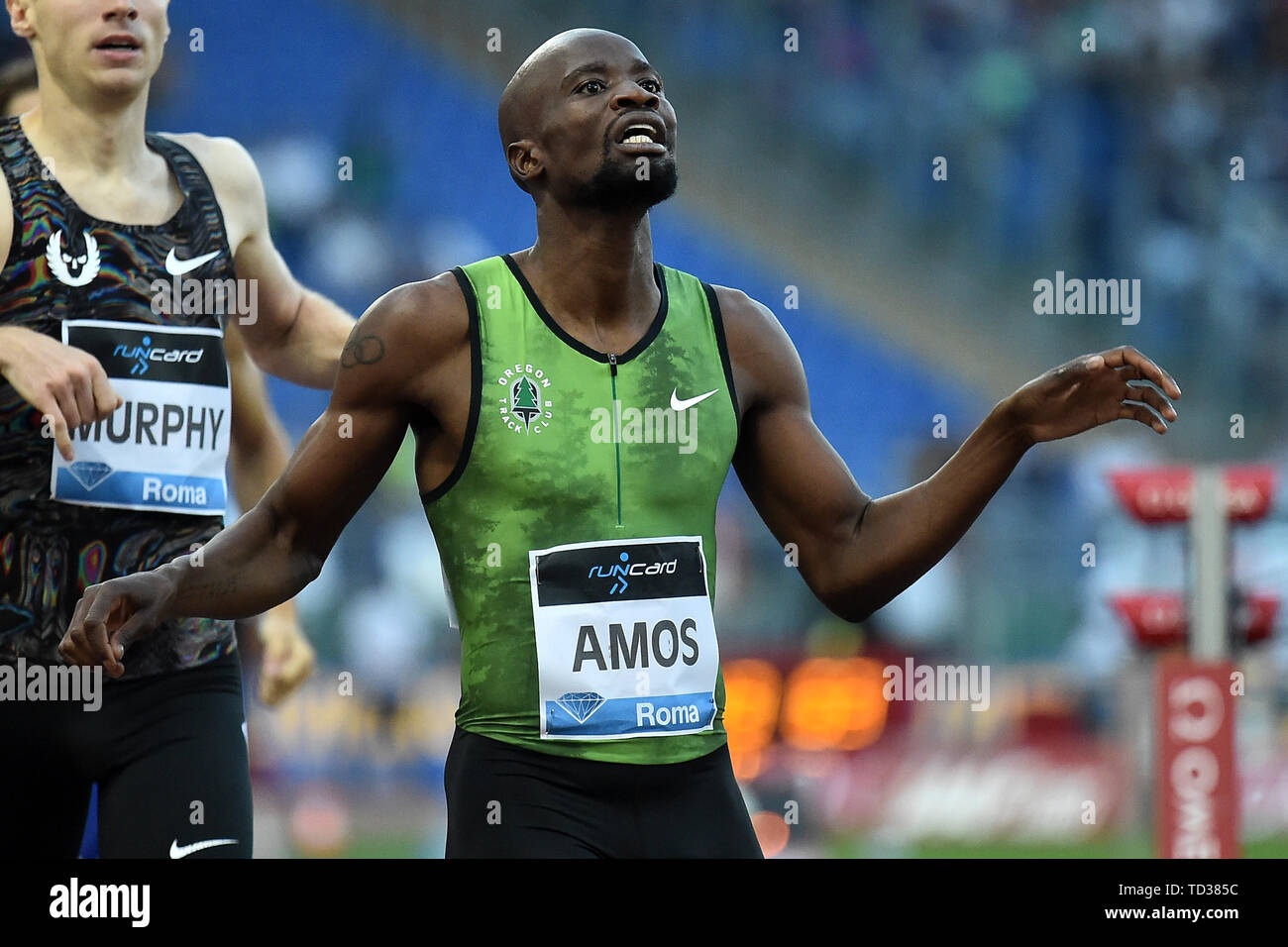Nijel Amos of Botswana reacts at the end of the men's 800m at the IAAF Diamond League Golden Gala  Roma 06-06-2019 Stadio Olimpico,  Meeting Atletica  - Stock Image