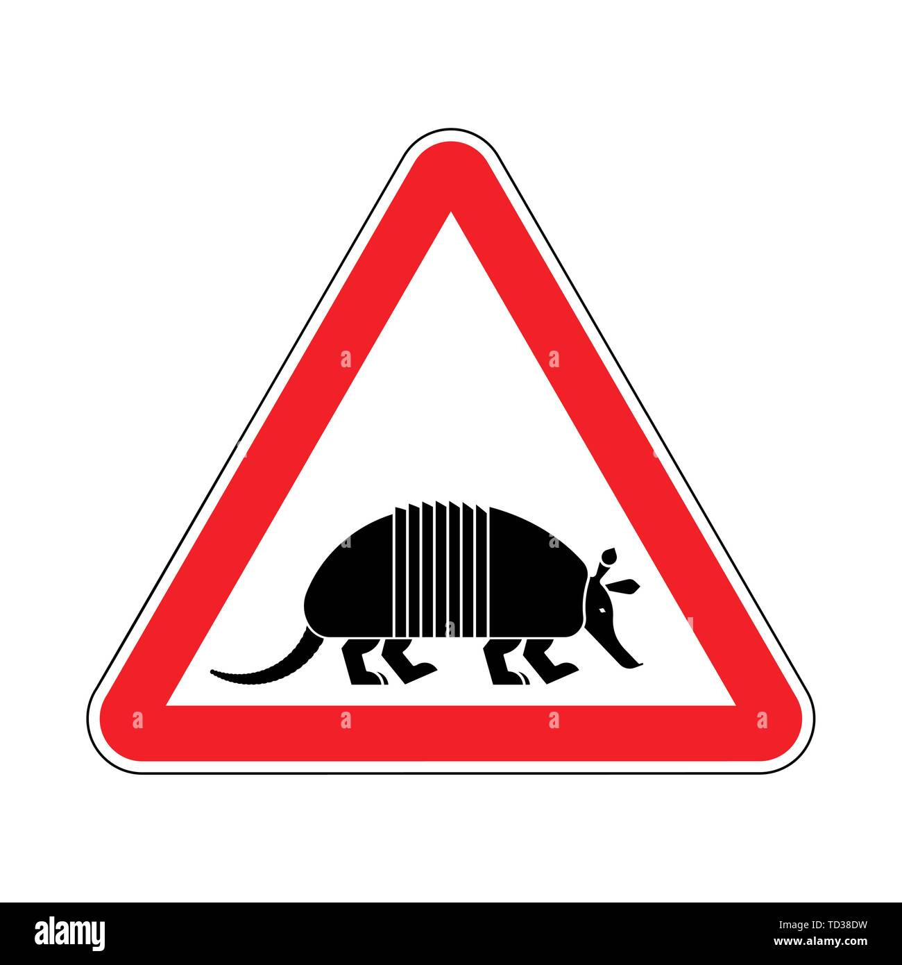 Attention armadillo. Caution Nine-hip Armadillo. Red triangle road sign - Stock Image