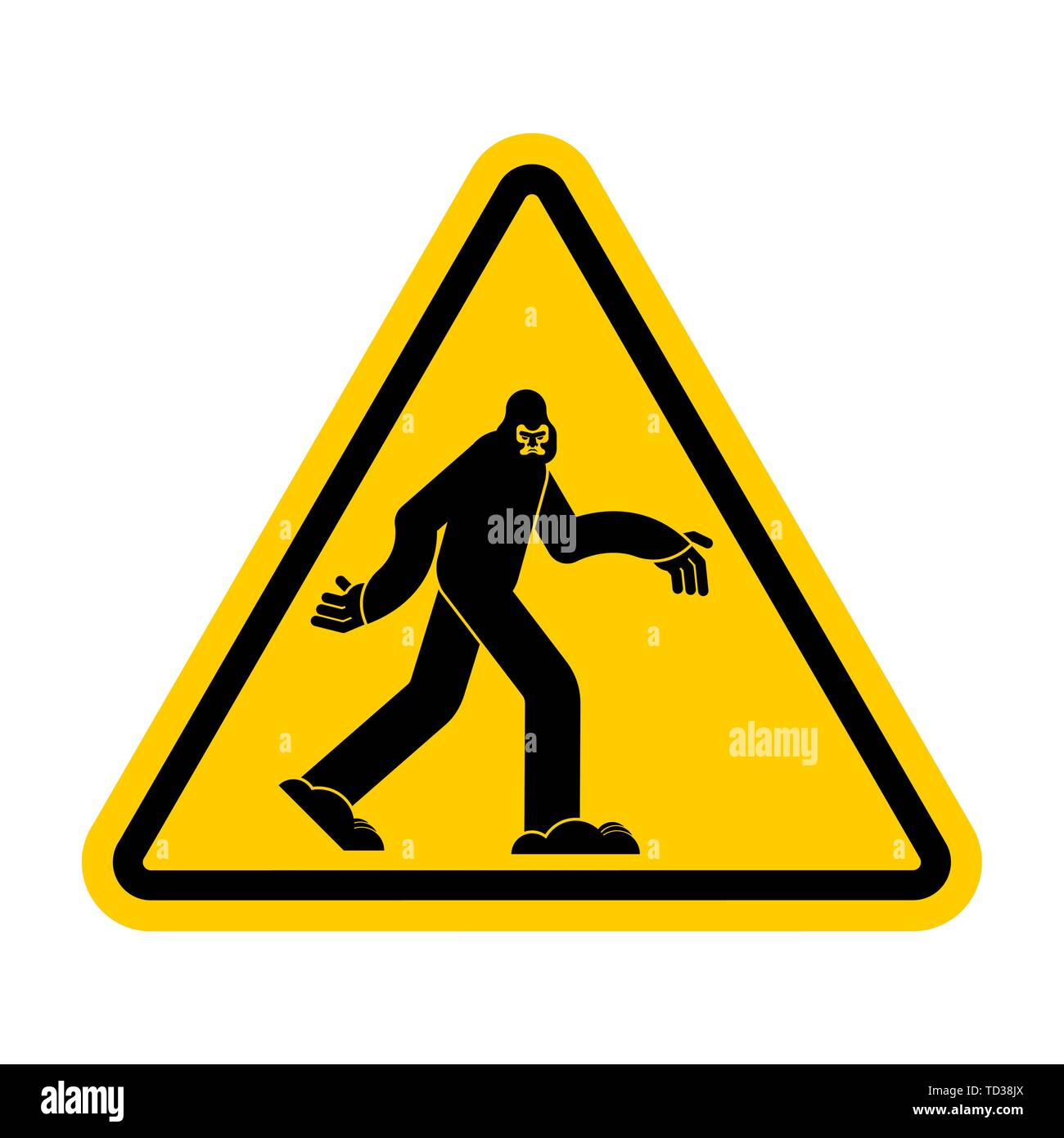 Attention Bigfoot. Caution Yeti. Yellow triangle road sign - Stock Image