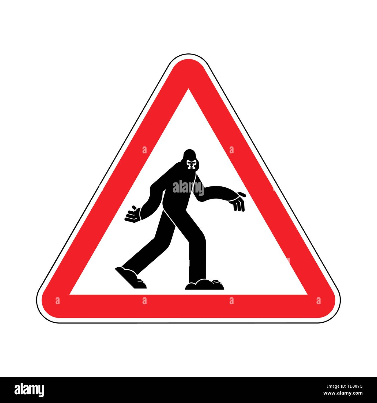 Attention Bigfoot. Caution Yeti. Red triangle road sign - Stock Image