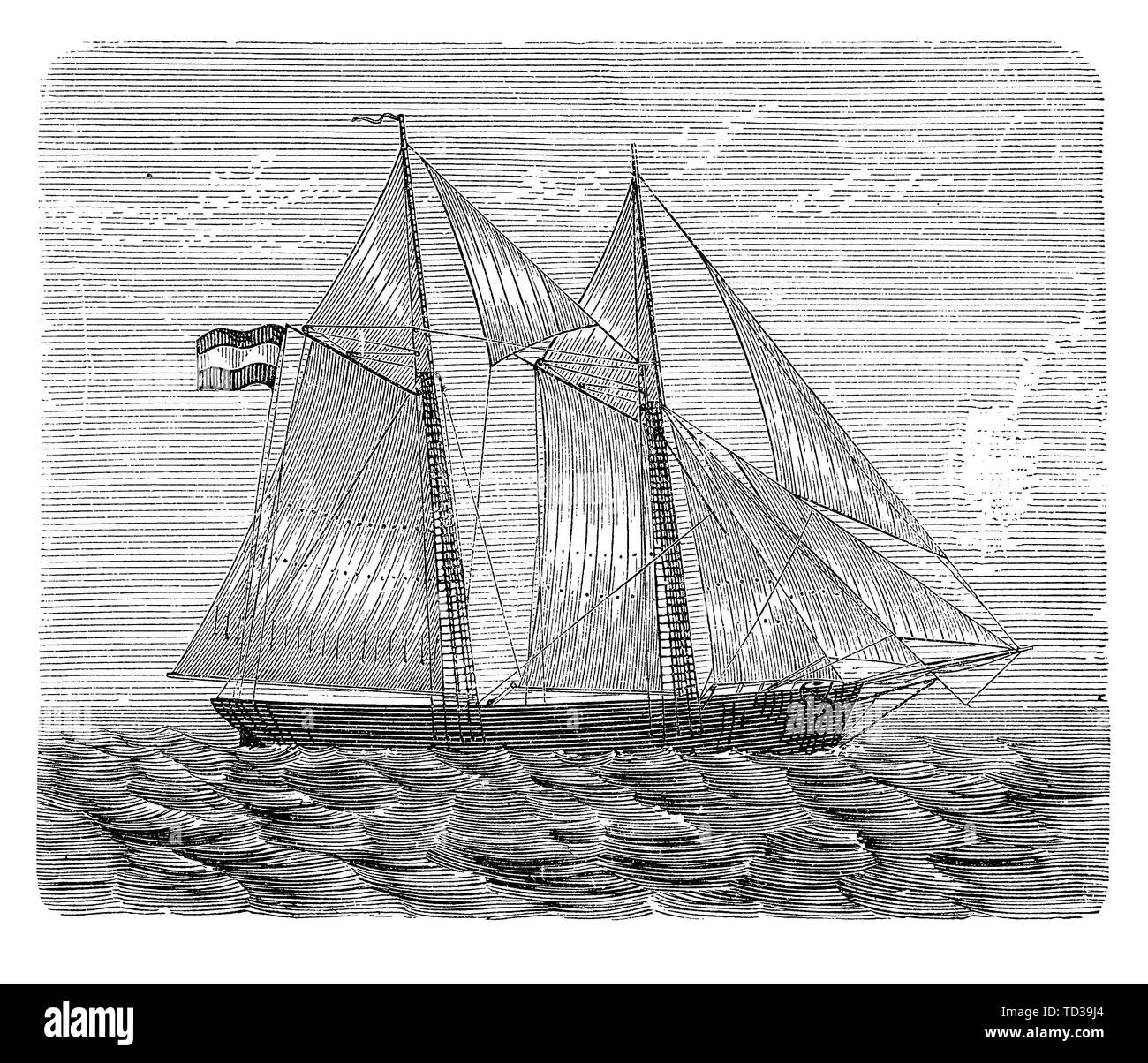 Brigantine with gaff rigged sails, where the sails are four-cornered and controlled to the peak allowing to sail close to the direction of the wind - Stock Image