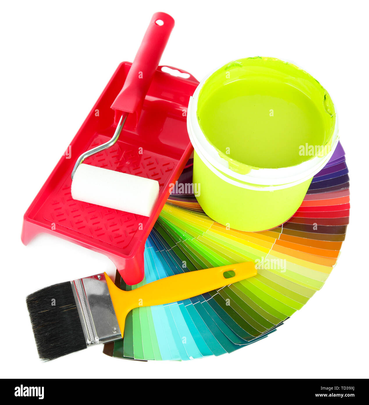 Set for painting: paint pot, brushes, paint-roller and palette of colors isolated on white - Stock Image
