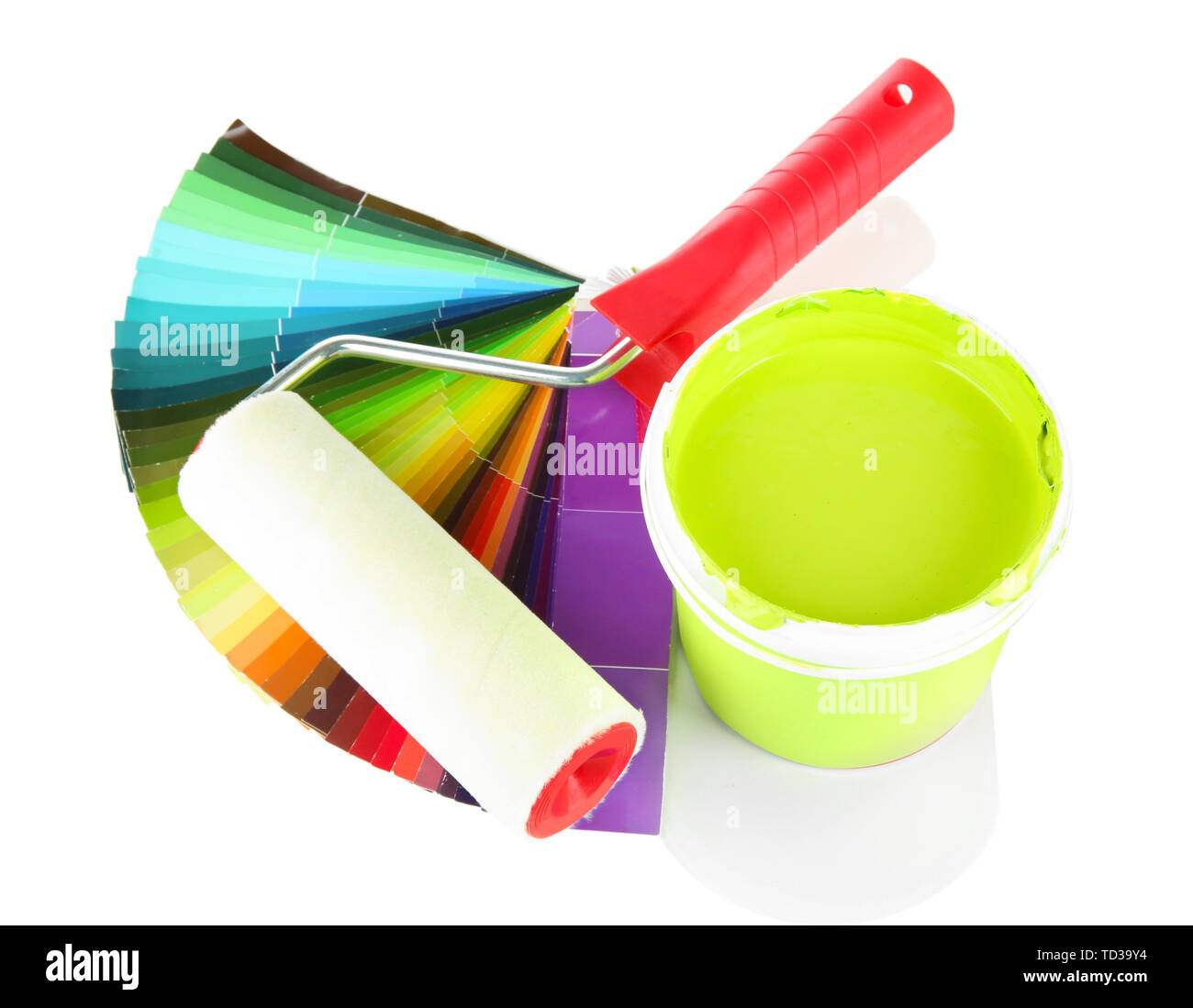 Set for painting: paint pot, paint-roller and palette of colors isolated on white - Stock Image