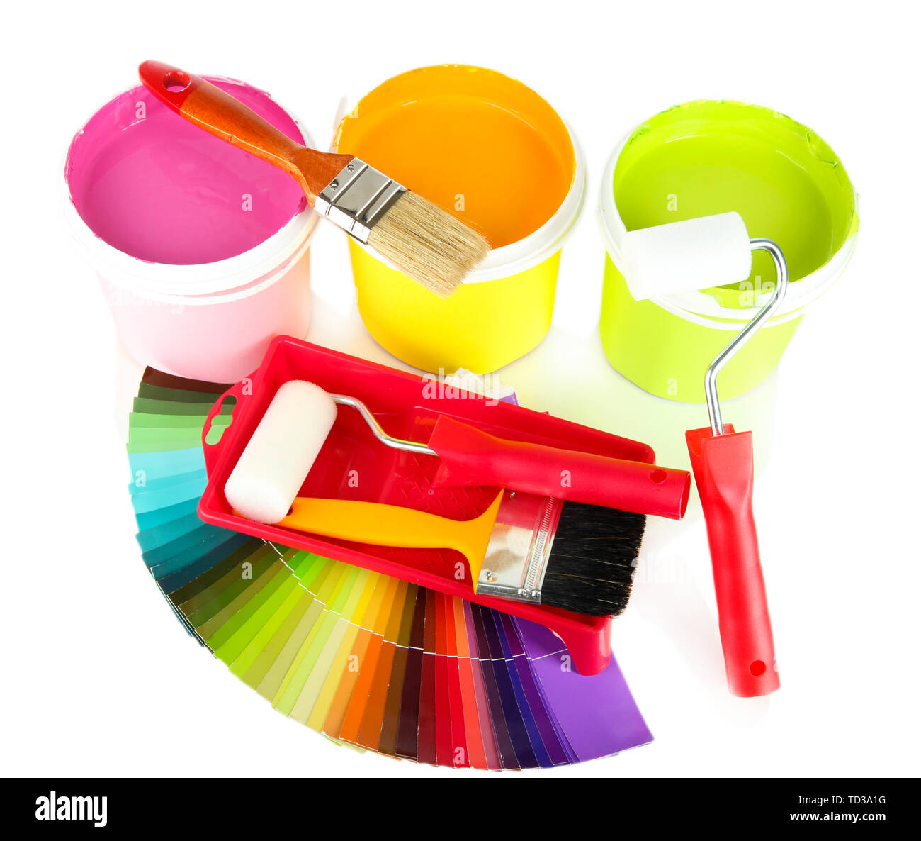 Set for painting: paint pots, brushes, paint-roller and palette of colors isolated on white - Stock Image