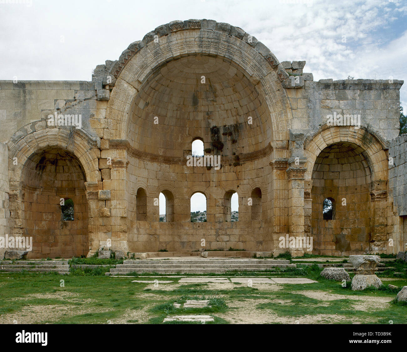 Syria. Aleppo. Church of Saint Simeon Stylites. It was built on the site of the pillar of St. Simeon Stylites. Byzantine style. Octagonal courtyard, bordered by four basilicas in the shape of a rood-tree and decribed as a four-basilica church.  Chapel. Mount Simeon. Historical photography (taken before the Syrian Civil War). - Stock Image