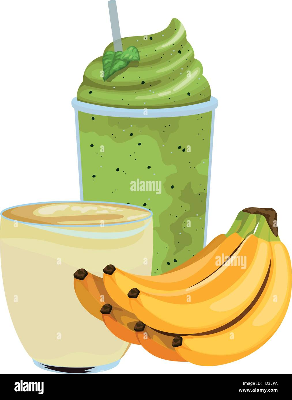 tropical fruit and smoothie drink Stock Vector