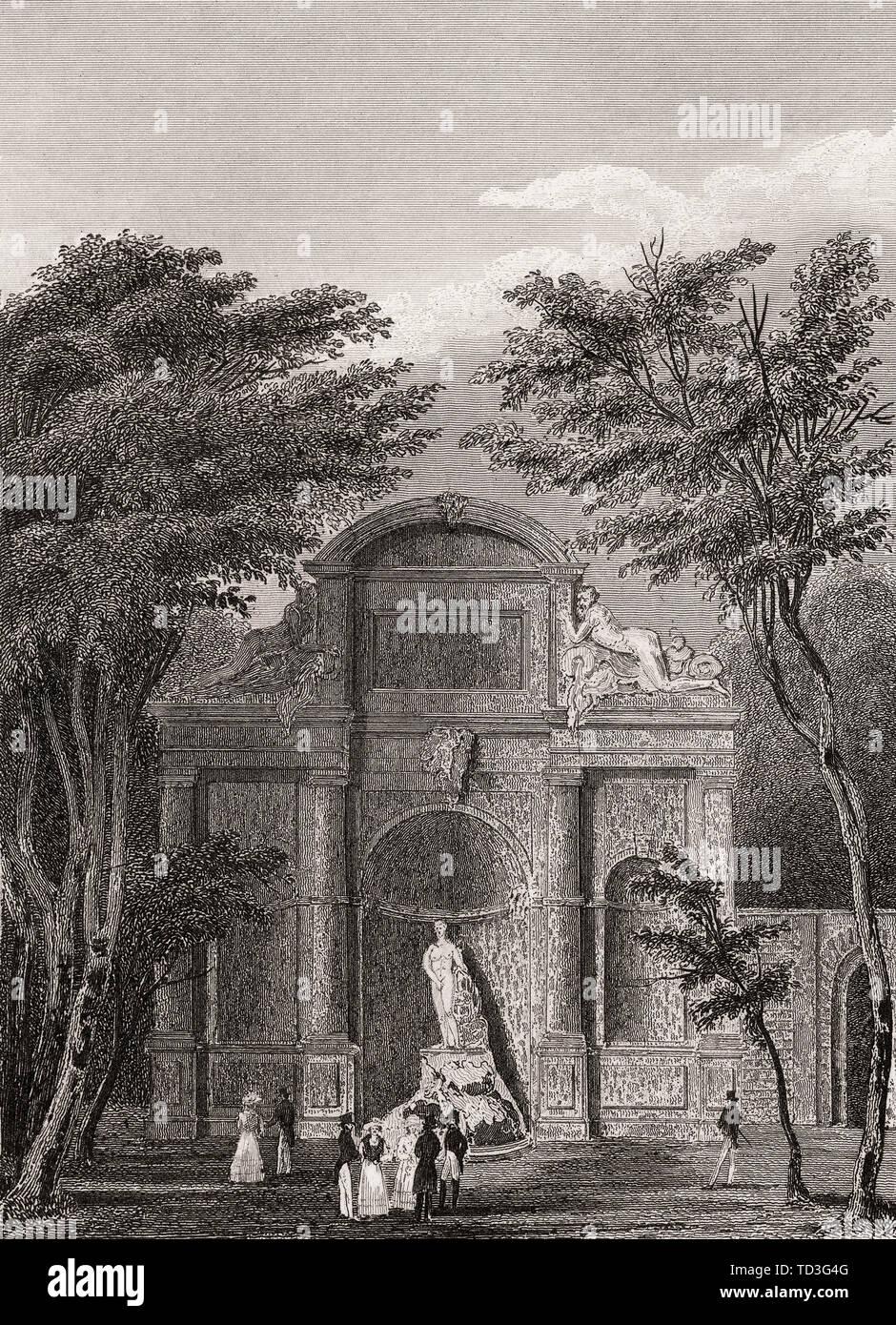 Parc de Saint-Cloud, near Paris, antique steel engraved print, 1831 - Stock Image