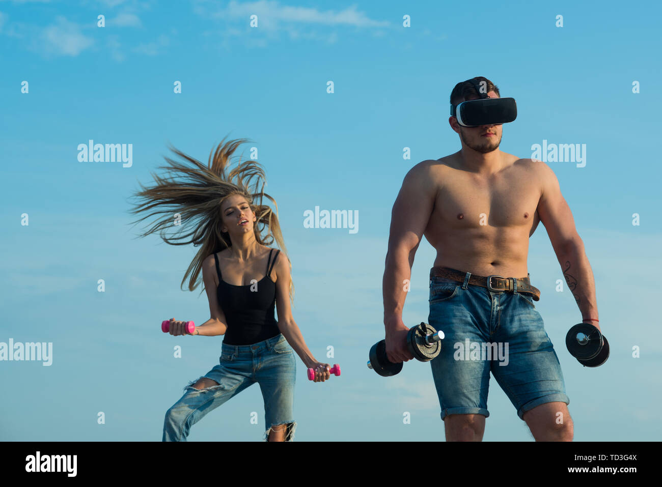 Innovation in sport. Man bodybuilder in vr headset use innovation for training. Innovation for getting stronger. Build muscle with innovation device.  - Stock Image