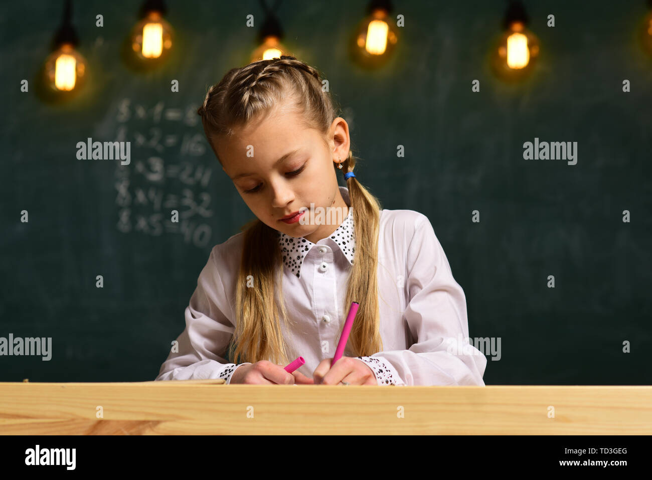 creativity and art. creativity and art of little girl. creativity in art school lesson. girl has creativity and art skills. just do it. - Stock Image