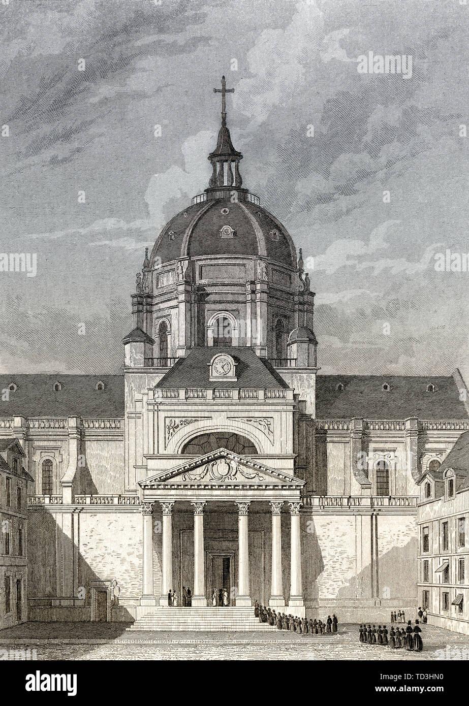 Chapelle Sainte Ursule de la Sorbonne, Paris, antique steel engraved print, 1831 - Stock Image