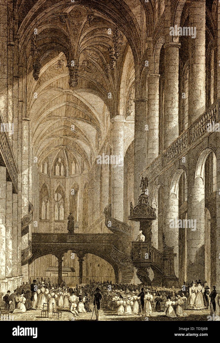 Church of St Etienne du Mont, Paris, antique steel engraved print, 1831 - Stock Image