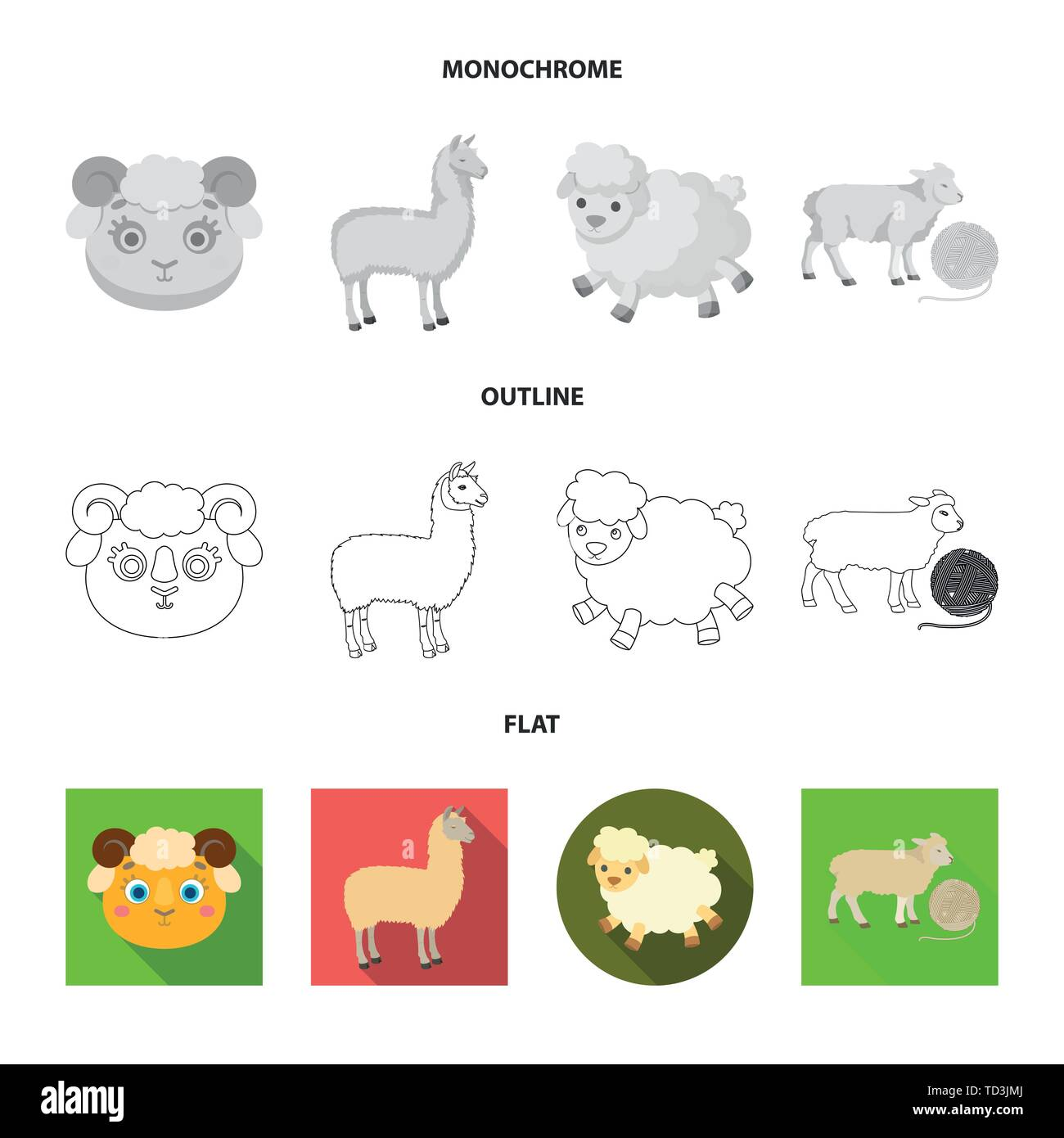 Vector design of sheep and goat icon. Set of sheep and happy  stock symbol for web. - Stock Vector