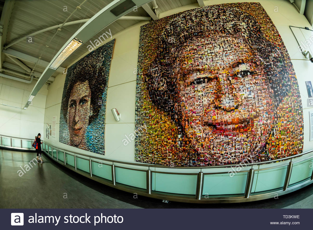 On display at London Gatwick Airport is a BBC South East Jubilee Art Project titled 'The People's Monarch.' It uses thousands of photos submitted by v - Stock Image