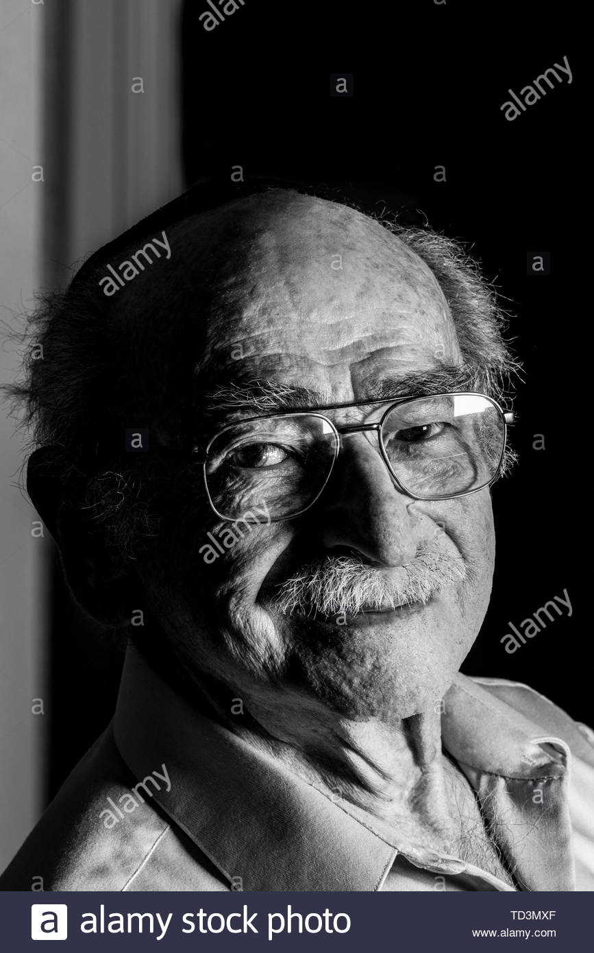 98 year old Jack Welner, who is a Holocaust survivor. Welner was interned in the Lodz Ghetto in Poland, where he was faced hard labor and starvation b - Stock Image