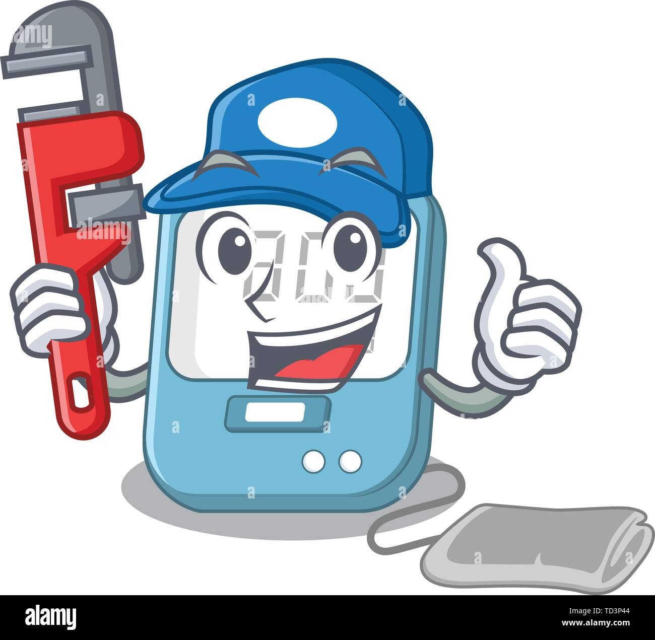 Plumber blood pressure toy above cartoon table - Stock Image